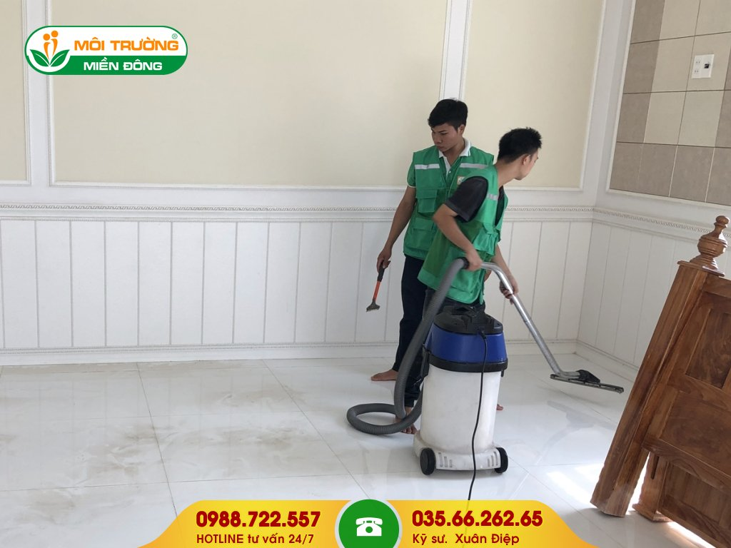 Dự toán dịch vụ vệ sinh công trình sau xây dựng
